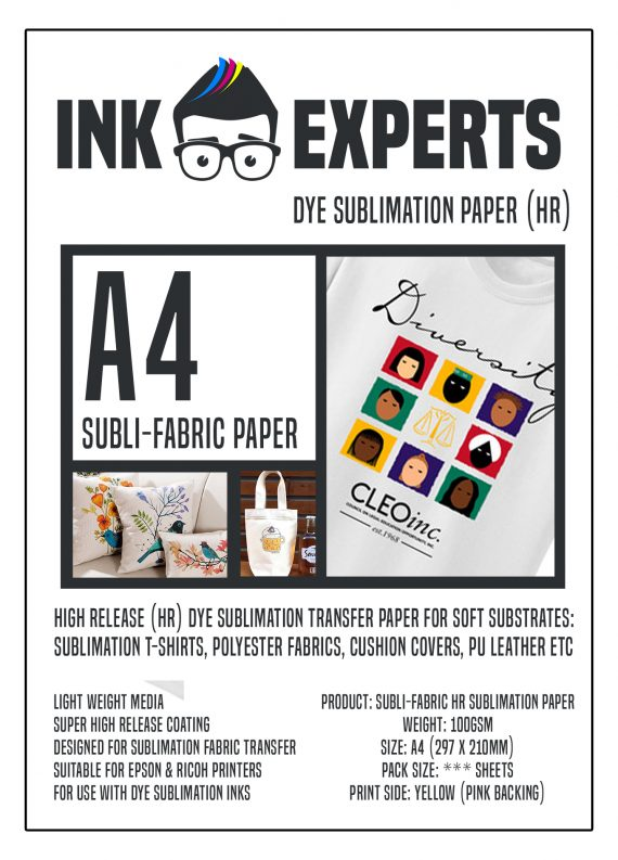 Ink Experts A4 Subli-Fabric 120gsm Sublimation Paper