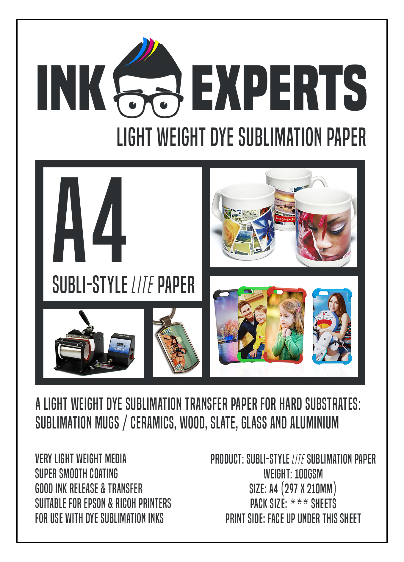 Ink Experts 100gsm A4 Subli-Style LITE Dye Sublimation Paper