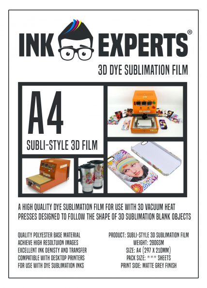 Ink Experts A4 Subli-Style 3D Sublimation Film